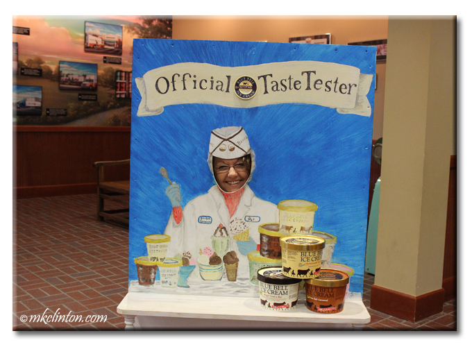 Woman with head in ice cream tester cut out