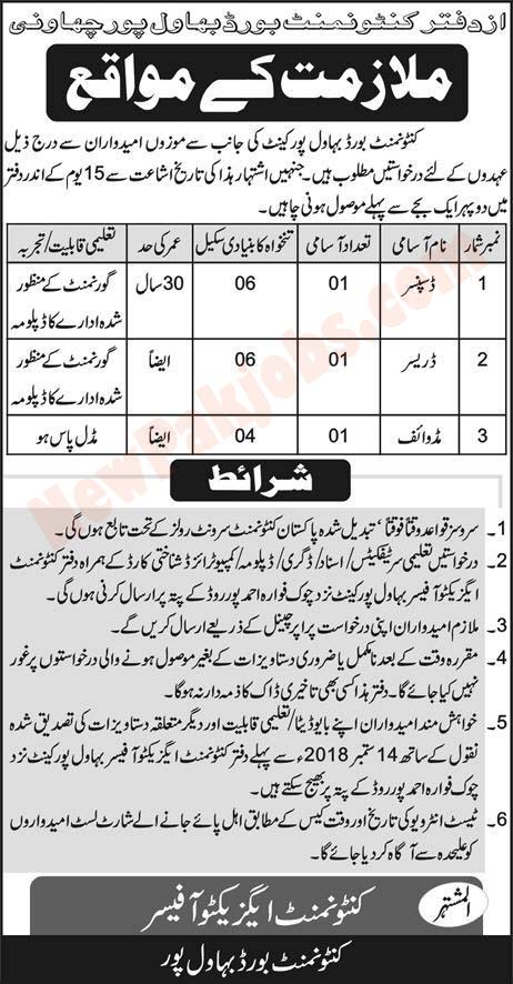 Government Jobs In Bahawalpur Cantonment Board