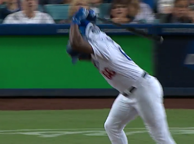 Yasiel Puig slams bat