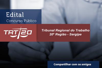 TRT Sergipe 20ª Região, abre concurso para Diversos Cargos