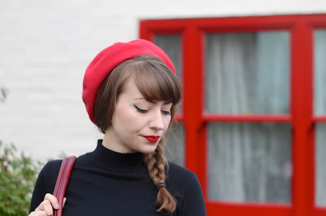1960s Twiggy inspired side plait with beret