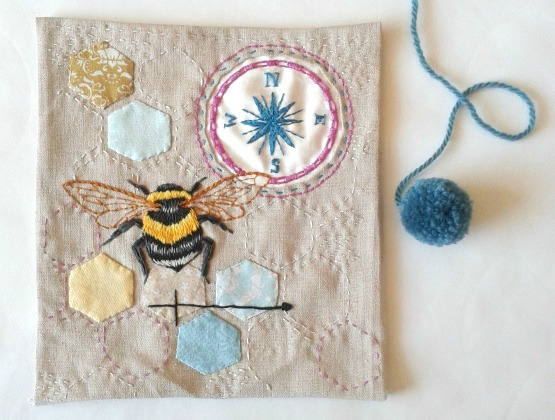 bees, embroidery, patchwork, hexagons, fabric collage, Jenny Blair
