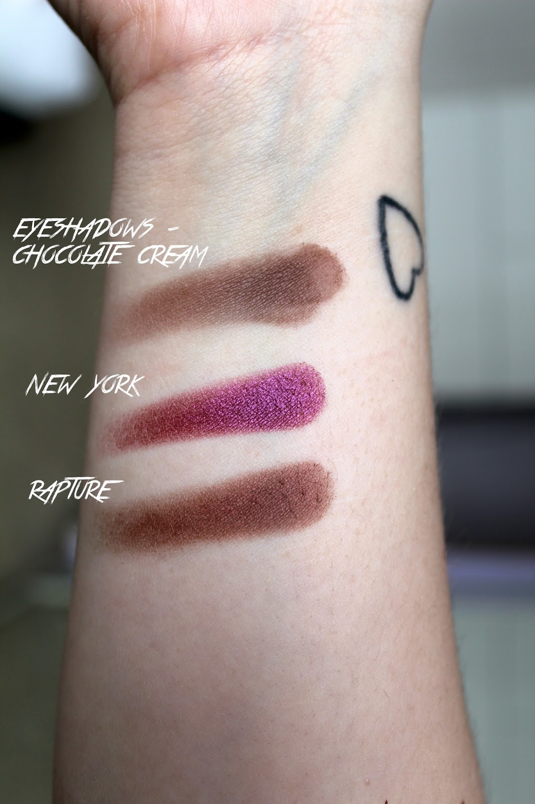 makeup obsession, custom palette, what's in my makeup obsession palette, swatches, reviews, rapture, chocolate cream, new york
