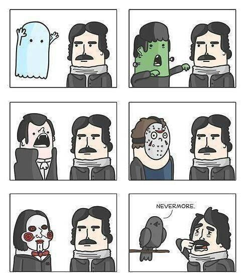 Meme de humor sobre Edgar Allan Poe