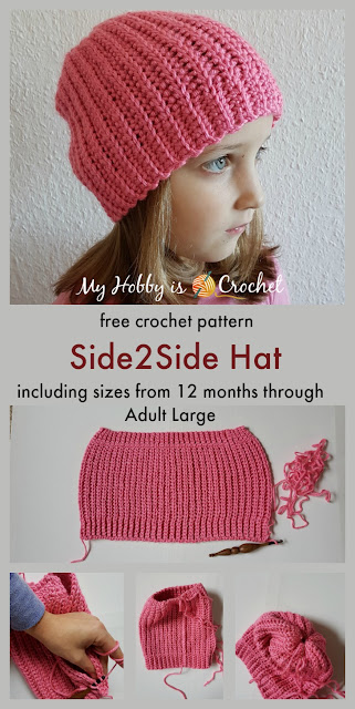 Side2Side Hat - Free Crochet pattern in 6 sizes (12 months - Adult Large) on myhobbyiscrochet.com