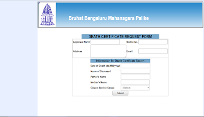 online death certificate request form in karnataka