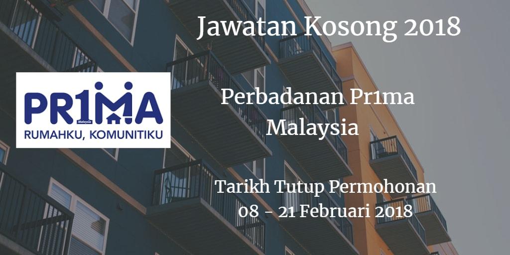 Jawatan Kosong Perbadanan Pr1ma Malaysia 08 -21 Februari 2018