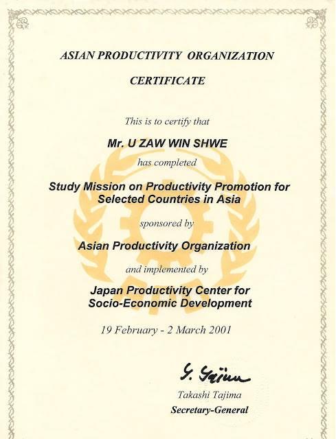 Certificate in Asian Productivity Organization