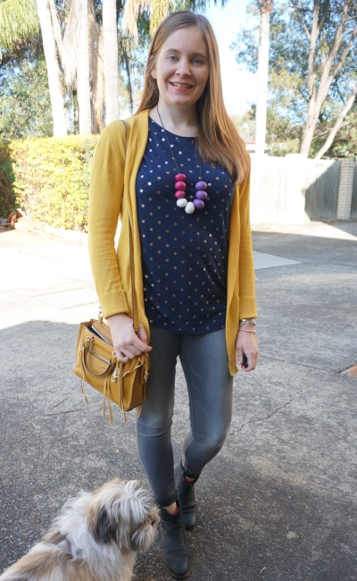 navy polka dot tee grey skinny jeans paediatrician appointment outfit spring | away from blue