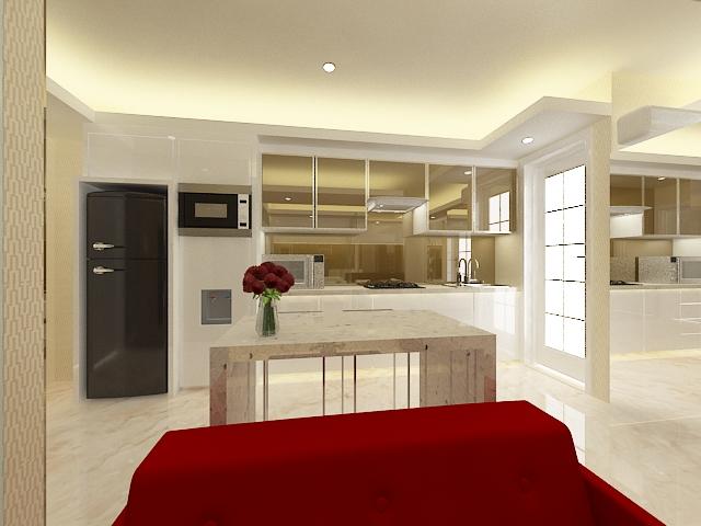 Studio Apartment Green Bay Jakarta Design Interior Minimalist White Lacquer Modern Kitchen Living