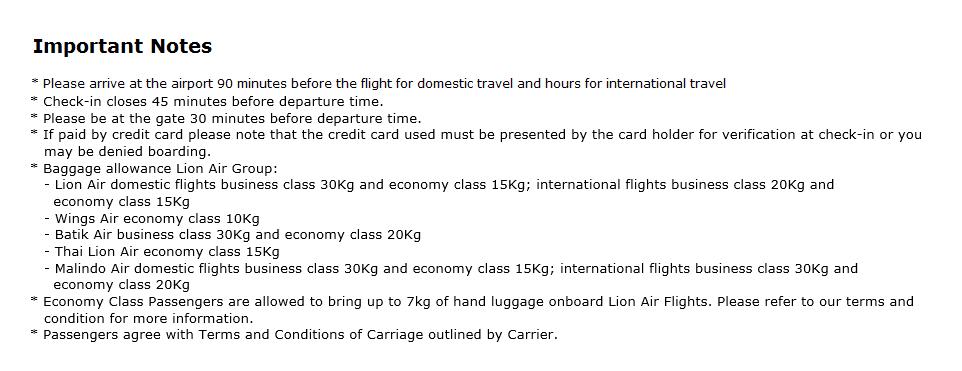 Catatan Penting Untuk Penumpang Lion Air