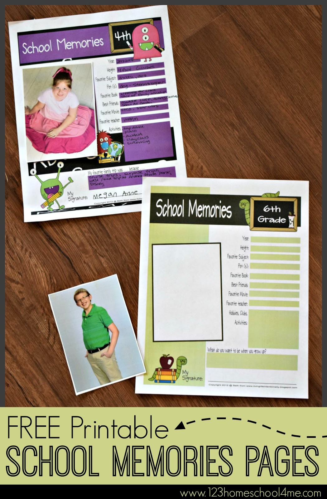 Free School Memory Sheets