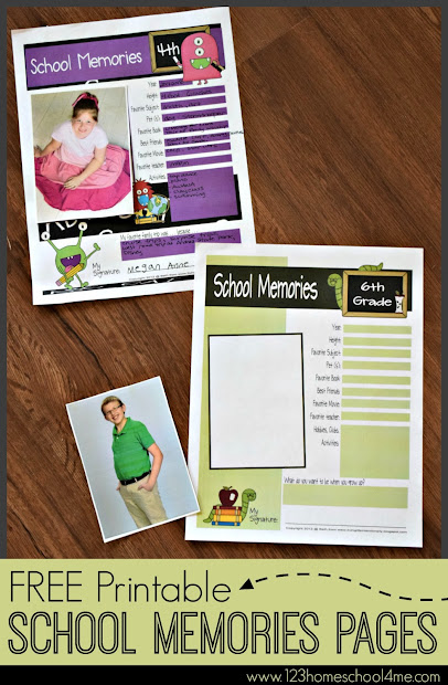 High School Memory Printable Pages