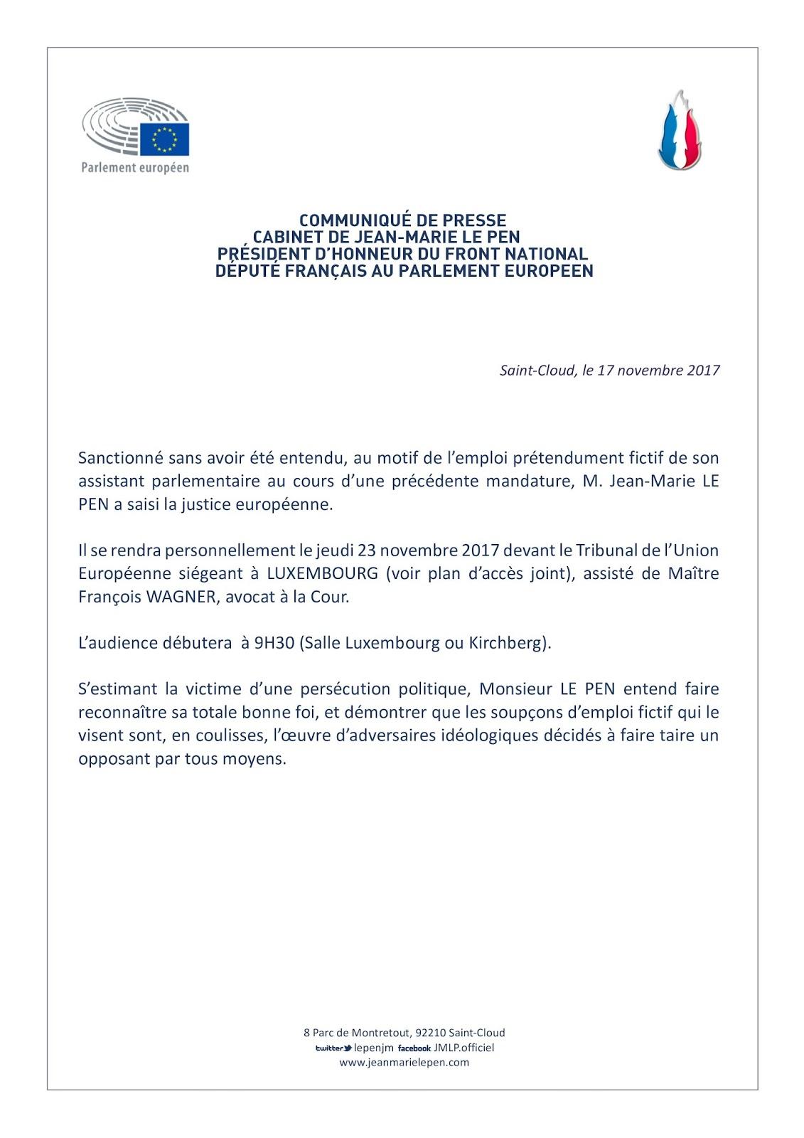 Communiqué de presse du Cabinet de Jean-Marie LE PEN