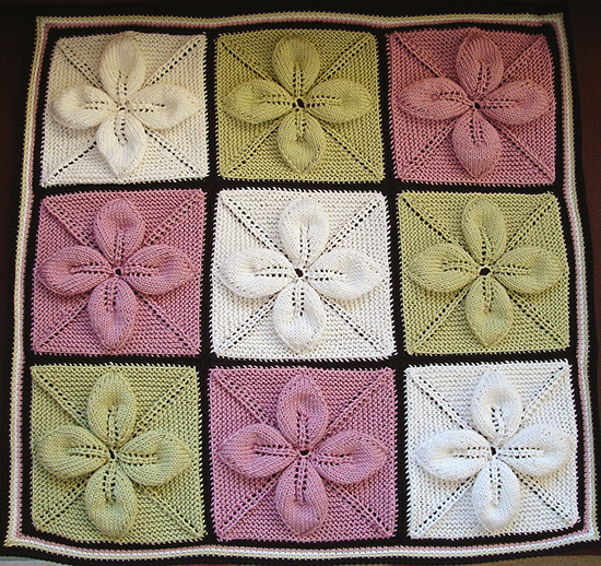 Square Counterpane with Leaves Knitting Quilt