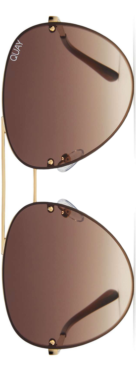 Quay x Missguided Cool Innit 56mm Aviator Sunglasses Gold/Brown