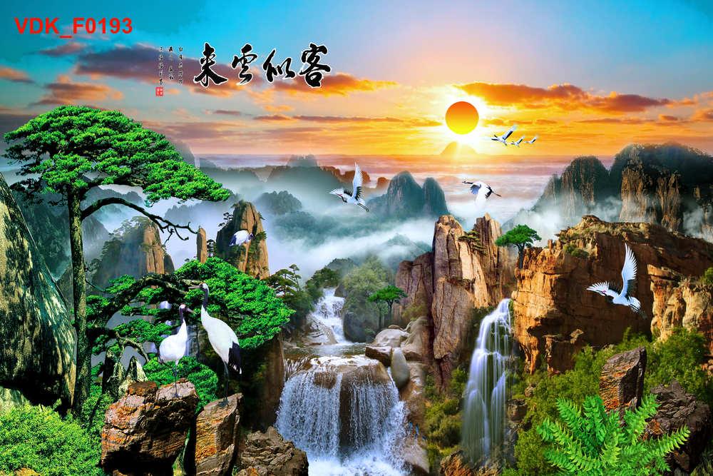 Tranh Phong Thủy  Núi Mặt Trời Cánh Cò Bay