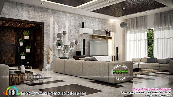 Hall interior design rendering