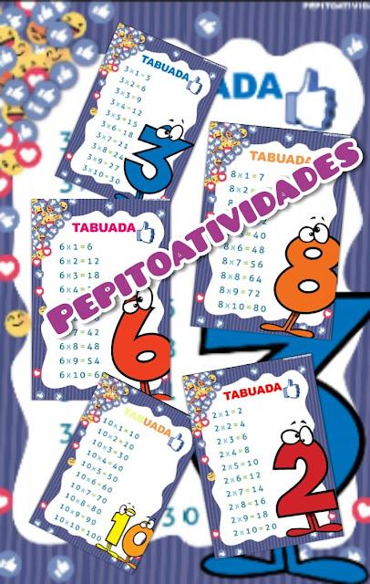 Cartazes tabuada multiplicação TEMA FACEBOOK para sala de aula