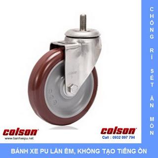 Bánh xe đẩy càng inox 304 kiểu trục ren chịu tải 136kg vật liệu bánh xe PU