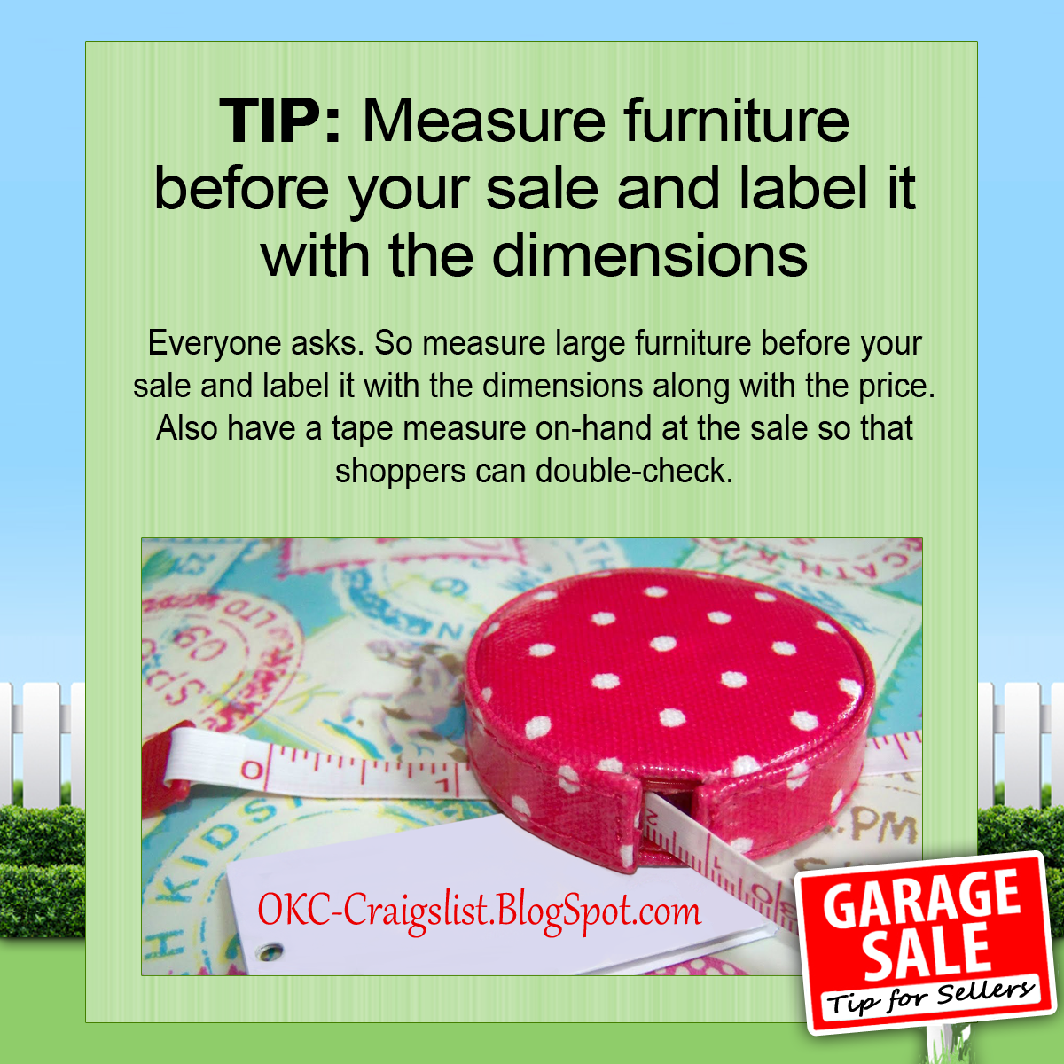 GARAGE SALE TIP: Measure and label furniture before your garage sale