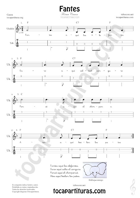 Ukelele Tablatura y Partitura de Fantes Punteo Tablature Sheet Music for Ukelele Tabs Music Scores
