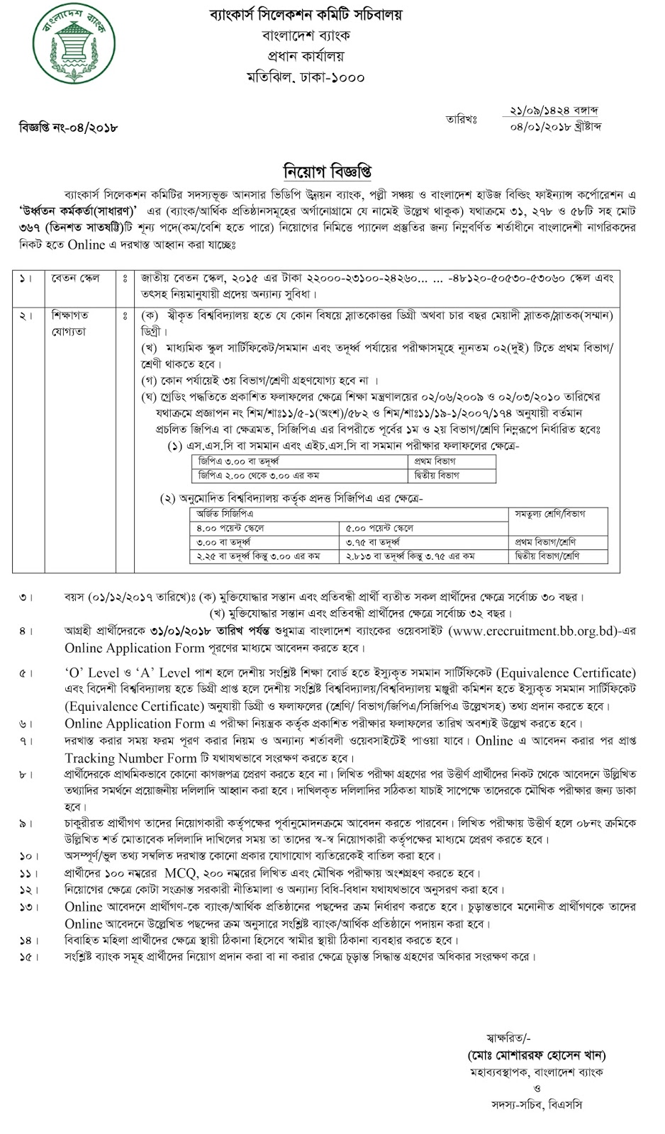 BHBFC Senior Officer (General) Job Circular 2018