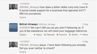 Three tweets between a customer and British Airways