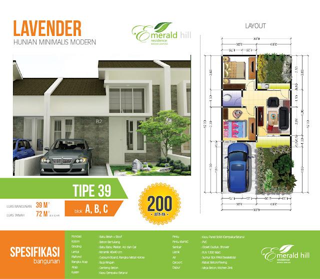 Rumah Murah Emerald Hill Lampung Tipe 39