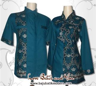 Model Baju Batik Resmi Kombinasi Warna Hijau