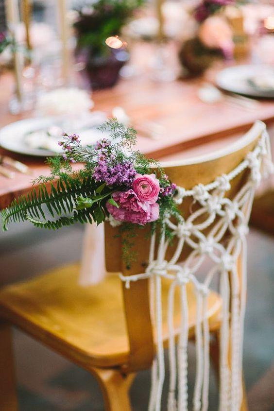 sillas de boda con macrame - decora tu boda con macrame