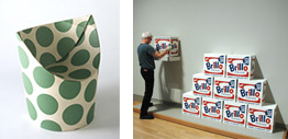 Siège, fauteuil en carton, par Peter Murdoch - boîtes brillo exposition d'Andy Warhol