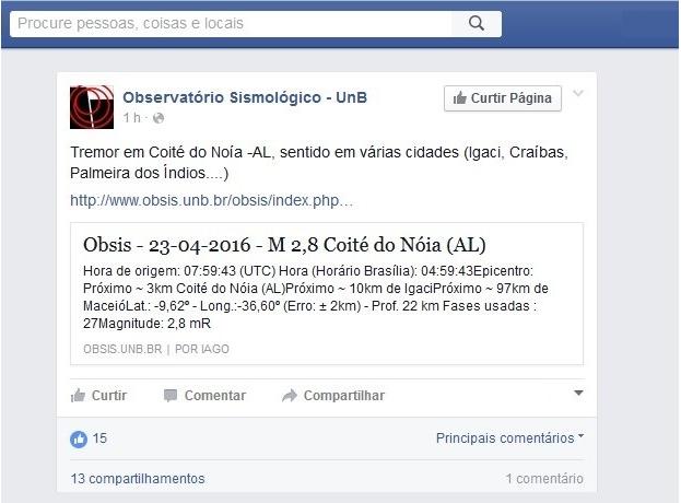 Cidades alagoanas sentem tremor de terra, neste sábado (23)