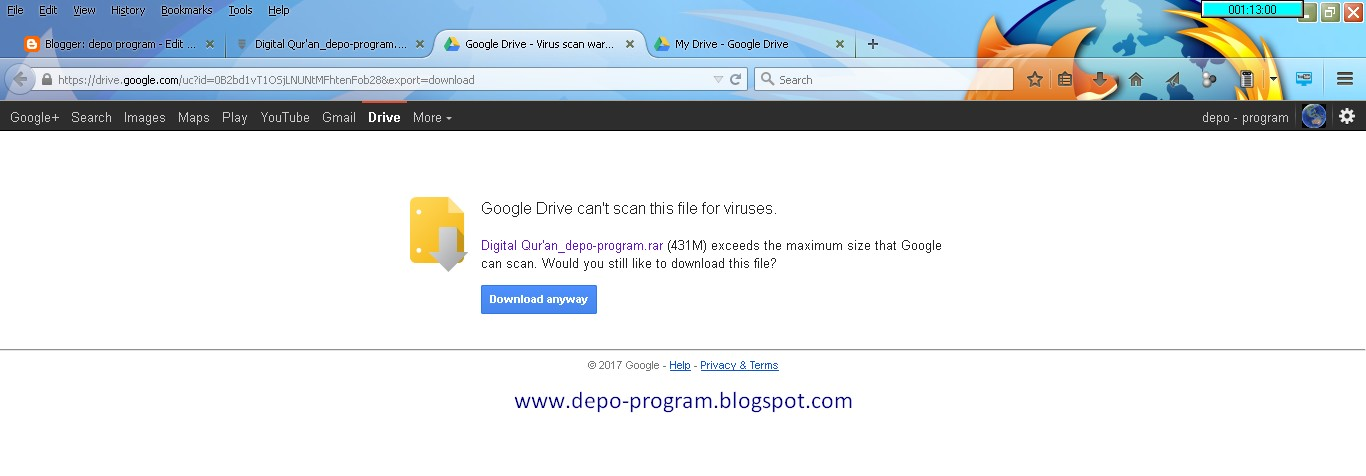 Cara Download File Via Google Drive | depo program
