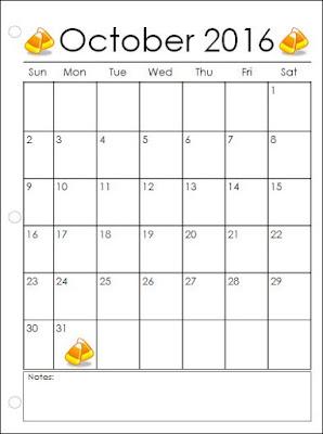 Monthly calendar 2016