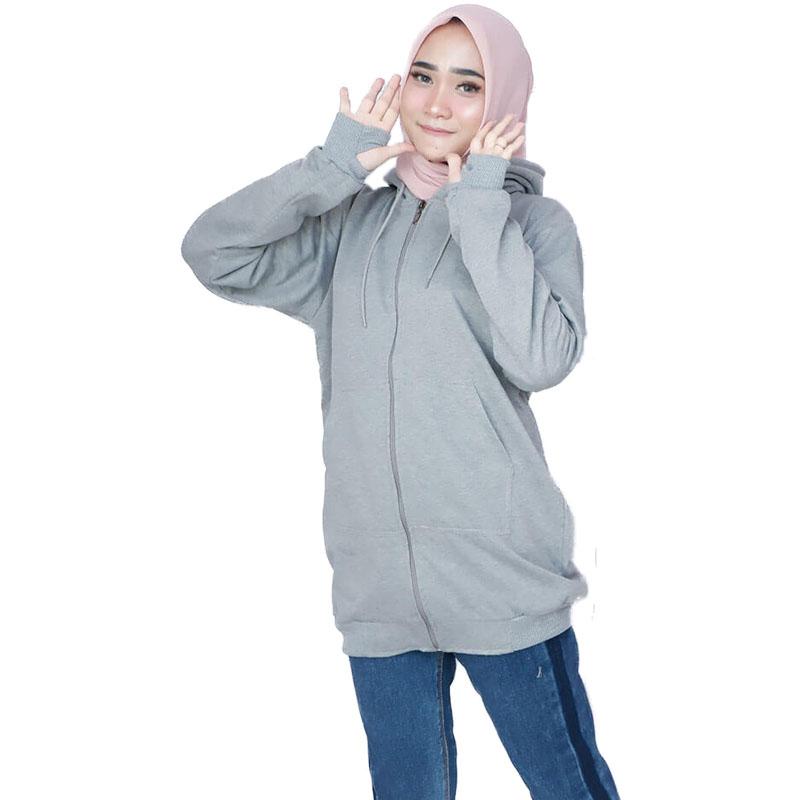 Jaket Muslimah Hijaber / Long Jacket Wanita Muslimah - Abu