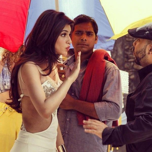 Kriti Sanon behind the scene of her first film.