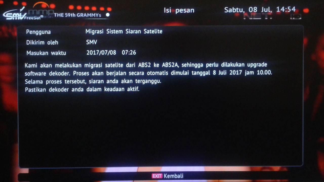 SMV TV Indonesia Pindah Satelit ABS 2A