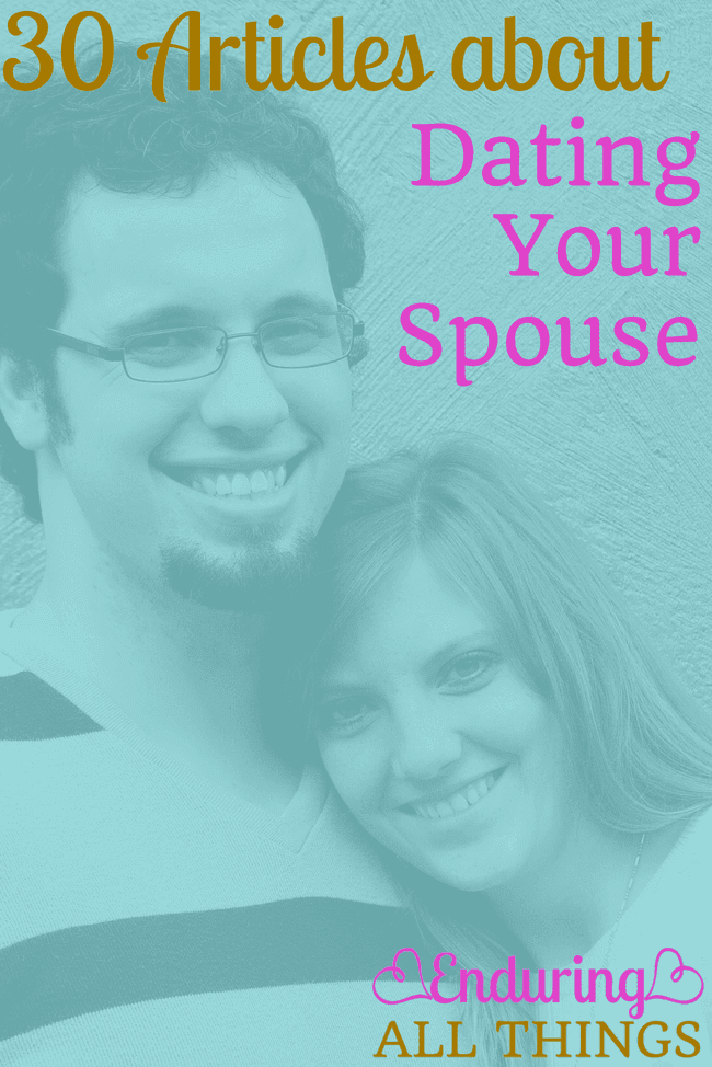 For the last day of Date Your Mate month, I've compiled a list of great articles from the internet about dating your spouse! This list is split up into the importance of dating your spouse, tips for dating your spouse, and date ideas.