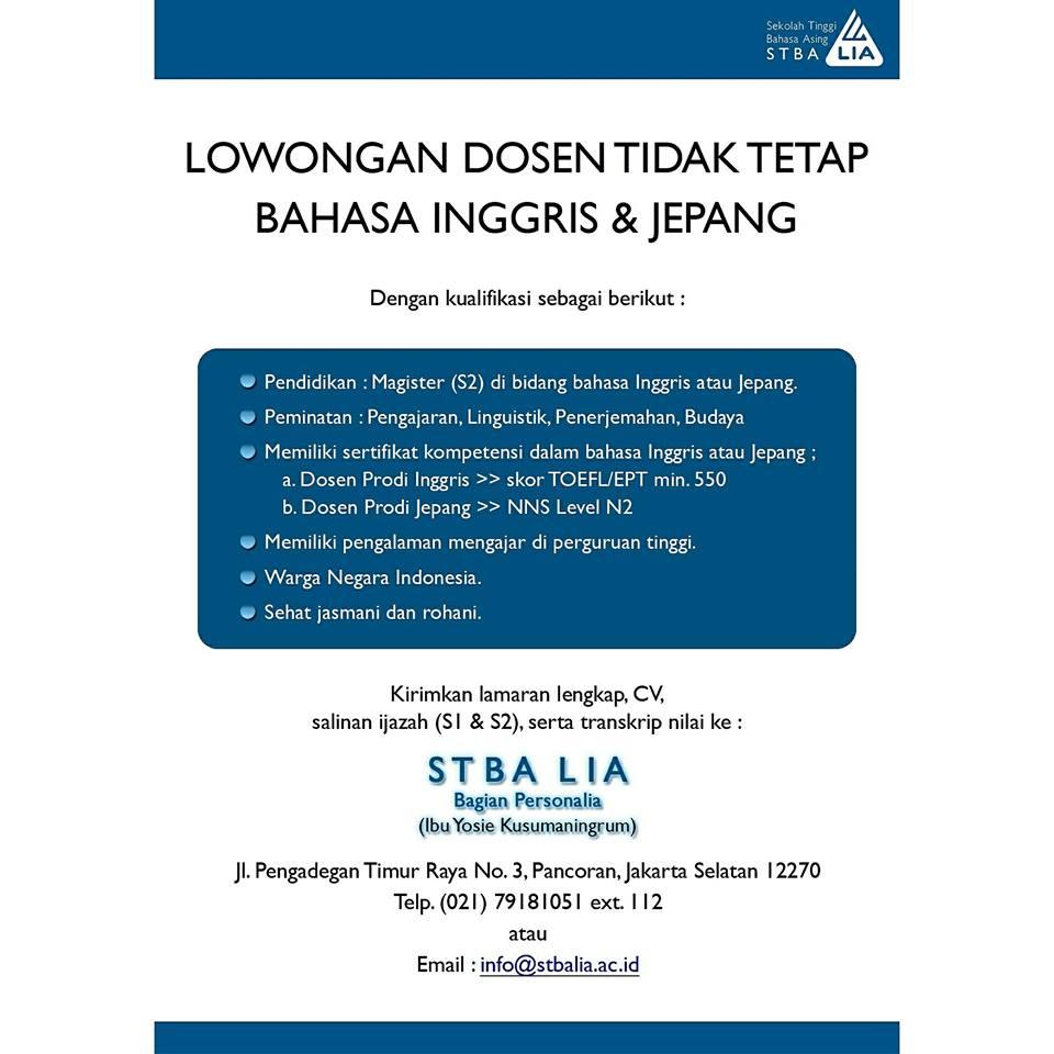 Lowongan Dosen Bahasa Jepang & Inggris Sekolah Tinggi Bahasa Asing LIA (STBALIA)