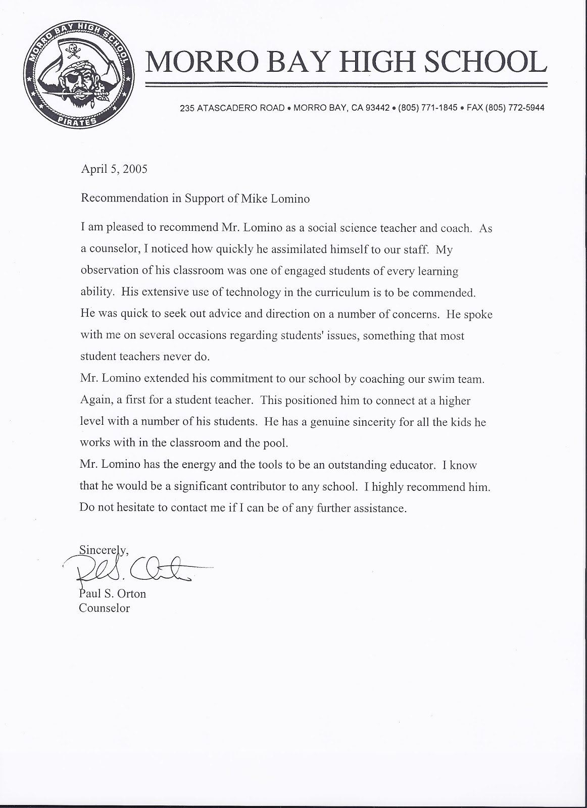 Mr Lomino Letters Of Recommendation Morro Bay High