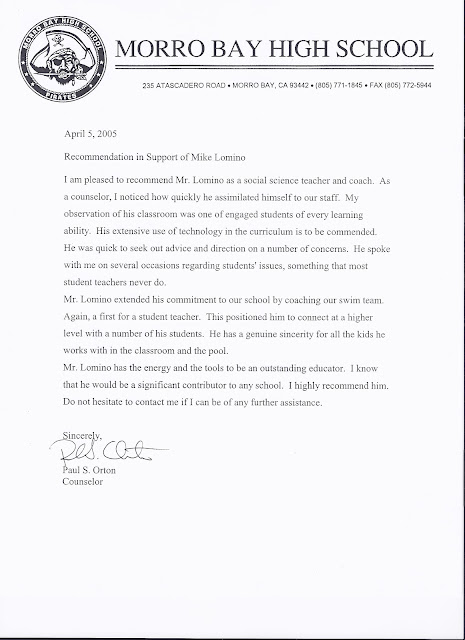 mr  lomino  letters of recommendation