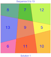 order 3 area magic square solution 1 sequence 5 to 13