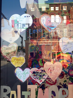 Children expressing their love for Baltimore Display at Metro Gallery in the Station North Arts and Entertainment District