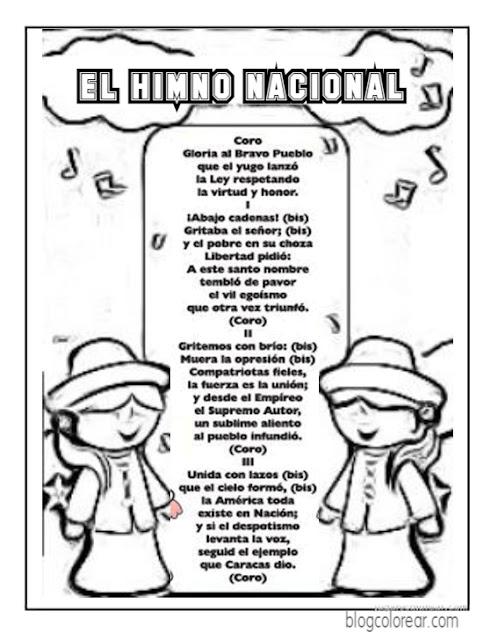 colorear Himno Nacional de Venezuela