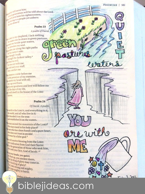 Bible journaling traceable design for Psalm 23 - field, water, cliff, girl