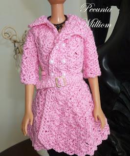 Casaco de Crochê Com Saia Godê Para Barbie  Por Pecunia MillioM 1