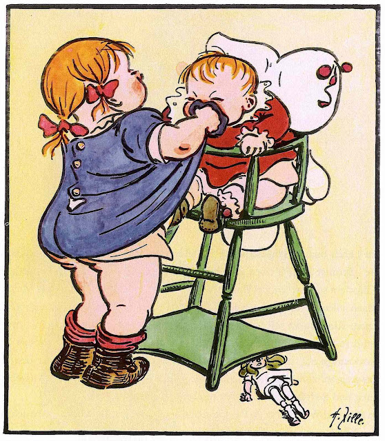 a Heinrich Zille color image of two kids