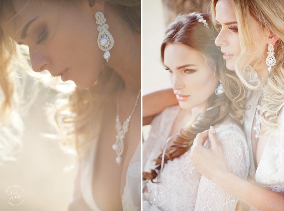 Długie kolczyki ślubne sutasz ivory z perłami.