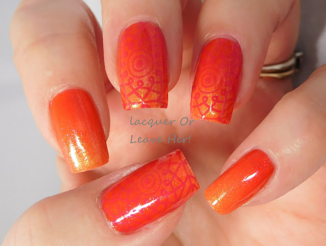 Zoya Tanzy over Julep Riley, stamped with UberChic Beauty 9-03